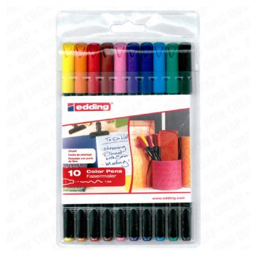 10 x EDDING 1200 ARTIST FELT TIP ART ILLUSTRATION DRAWING PENS in Handy Wallet